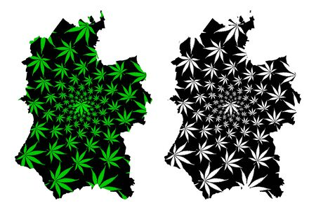 Wiltshire (United Kingdom, England, Non-metropolitan county, shire county) map is designed cannabis leaf green and black, Wiltshire map made of marijuana (marihuana,THC) foliage