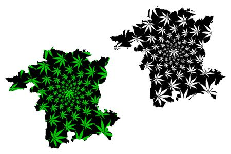Worcestershire (United Kingdom, England, Non-metropolitan county, shire county) map is designed cannabis leaf green and black, Worcs map made of marijuana (marihuana,THC) foliage  イラスト・ベクター素材