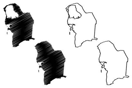 Balkan Region (Republic of Turkmenistan, Districts of Turkmenistan) map vector illustration, scribble sketch Balkan Province map
