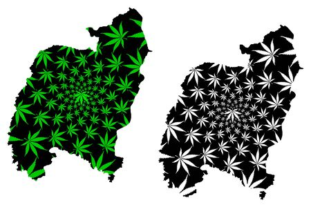 Amnat Charoen Province (Kingdom of Thailand, Siam, Provinces of Thailand) map is designed cannabis leaf green and black, Amnat Charoen map made of marijuana (marihuana,THC) foliage