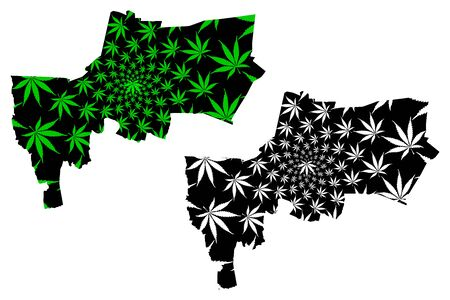Bangkok Province (Kingdom of Thailand, Siam, Provinces of Thailand) map is designed cannabis leaf green and black, Krung Thep Maha Nakhon map made of marijuana (marihuana,THC) foliage