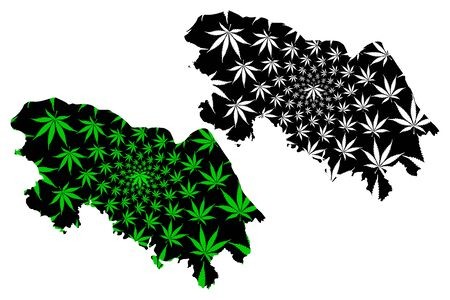 Bueng Kan Province (Kingdom of Thailand, Siam, Provinces of Thailand) map is designed cannabis leaf green and black, Bung Kan map made of marijuana (marihuana,THC) foliage