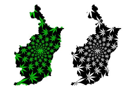 Buriram Province (Kingdom of Thailand, Siam, Provinces of Thailand) map is designed cannabis leaf green and black, Buriram map made of marijuana (marihuana,THC) foliage