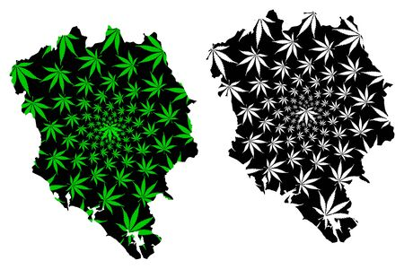 Chanthaburi Province (Kingdom of Thailand, Siam, Provinces of Thailand) map is designed cannabis leaf green and black, Chanthaburi map made of marijuana (marihuana,THC) foliage