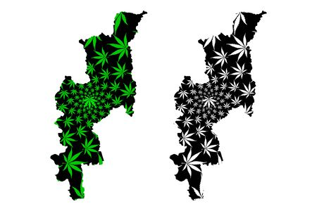 Chiang Mai Province (Kingdom of Thailand, Siam, Provinces of Thailand) map is designed cannabis leaf green and black, Jiang Hai map made of marijuana (marihuana,THC) foliage
