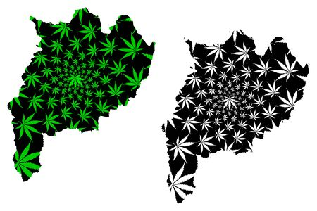Chiang Rai Province (Kingdom of Thailand, Siam, Provinces of Thailand) map is designed cannabis leaf green and black, Jiang Hai map made of marijuana (marihuana,THC) foliage Ilustrace