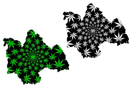 Kalasin Province (Kingdom of Thailand, Siam, Provinces of Thailand) map is designed cannabis leaf green and black, Kalasin map made of marijuana (marihuana,THC) foliage