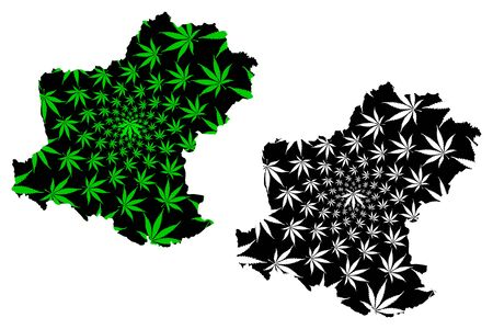 Nakhon Ratchasima Province (Kingdom of Thailand, Siam, Provinces of Thailand) map is designed cannabis leaf green and black, Khorat (Korat) map made of marijuana (marihuana,THC) foliage