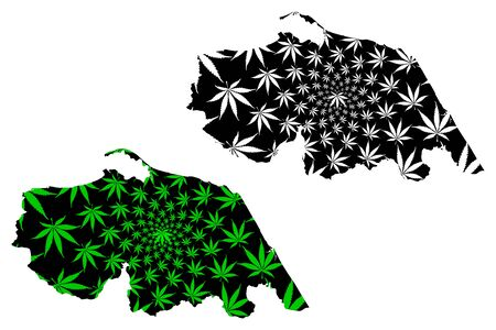 Pattani Province (Kingdom of Thailand, Siam, Provinces of Thailand) map is designed cannabis leaf green and black, Pattani map made of marijuana (marihuana,THC) foliage