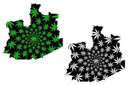 Phra Nakhon Si Ayutthaya Province (Kingdom of Thailand, Siam) map is designed cannabis leaf green and black, Phra Nakhon Si Ayutthaya map made of marijuana (marihuana,THC) foliage