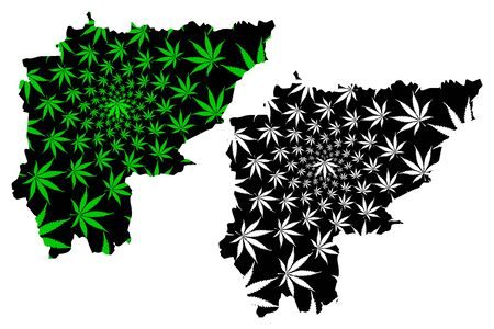 Sa Kaeo Province (Kingdom of Thailand, Siam, Provinces of Thailand) map is designed cannabis leaf green and black, Sa Kaeo map made of marijuana (marihuana,THC) foliage