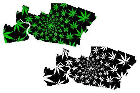 Samut Prakan Province (Kingdom of Thailand, Siam, Provinces of Thailand) map is designed cannabis leaf green and black, Samut Prakan map made of marijuana (marihuana,THC) foliage