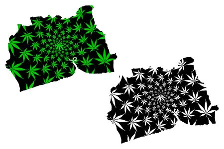 Samut Sakhon Province (Kingdom of Thailand, Siam, Provinces of Thailand) map is designed cannabis leaf green and black, Samut Sakhon map made of marijuana (marihuana,THC) foliage