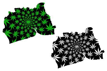 Samut Sakhon Province (Kingdom of Thailand, Siam, Provinces of Thailand) map is designed cannabis leaf green and black, Samut Sakhon map made of marijuana (marihuana,THC) foliage