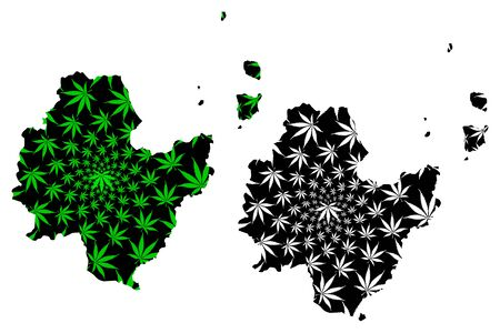 Surat Thani Province (Kingdom of Thailand, Siam, Provinces of Thailand) map is designed cannabis leaf green and black, Surat Thani map made of marijuana (marihuana,THC) foliage Stock Vector - 132720122