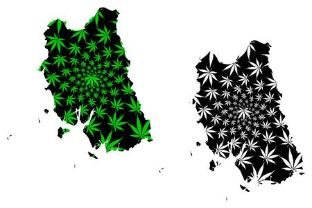 Trang Province (Kingdom of Thailand, Siam, Provinces of Thailand) map is designed cannabis leaf green and black, Trang map made of marijuana (marihuana,THC) foliage 矢量图像