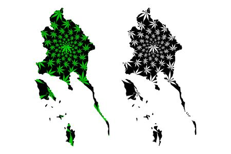 Trat Province (Kingdom of Thailand, Siam, Provinces of Thailand) map is designed cannabis leaf green and black, Trat map made of marijuana (marihuana,THC) foliage