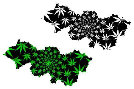 La carte de la province de Cao Bang (République socialiste du Vietnam, subdivisions du Vietnam) est conçue en feuilles de cannabis vertes et noires, carte de Tinh Cao Bang faite de feuillage de marijuana (marihuana, THC)