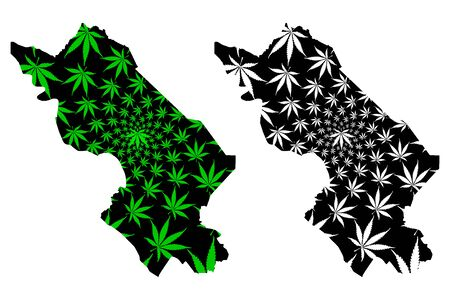 Dong Thap Province (Socialist Republic of Vietnam, Subdivisions of Vietnam) map is designed cannabis leaf green and black, Tinh Dong Thap map made of marijuana (marihuana,THC) foliage Illustration