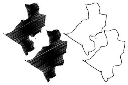 Leon Department (Republic of Nicaragua, Departments of Nicaragua) map vector illustration, scribble sketch León (NI-LE) map Vektoros illusztráció