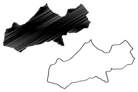 Matagalpa Department (Republic of Nicaragua, Departments of Nicaragua) map vector illustration, scribble sketch Matagalpa (NI-MT) map