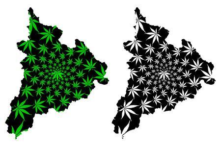 Kon Tum Province (Socialist Republic of Vietnam, Subdivisions of Vietnam) map is designed cannabis leaf green and black, Tinh Kon Tum map made of marijuana (marihuana,THC) foliage Ilustracje wektorowe
