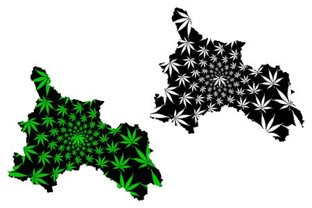 Son La Province (Socialist Republic of Vietnam, Subdivisions of Vietnam) map is designed cannabis leaf green and black, scribble sketch Tinh Son La map made of marijuana (marihuana,THC) foliage