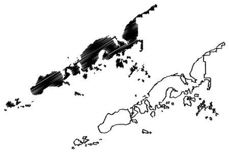 Aleutians East Borough, Alaska (Boroughs and census areas in Alaska, United States of America,USA, U.S., US) map vector illustration, scribble sketch Aleutian, Shumagin, Pavlof, Sanak Islands map