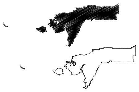 Bethel Census Area, Alaska (Boroughs and census areas in Alaska, United States of America,USA, U.S., US) map vector illustration, scribble sketch Bethel map Фото со стока - 133145378