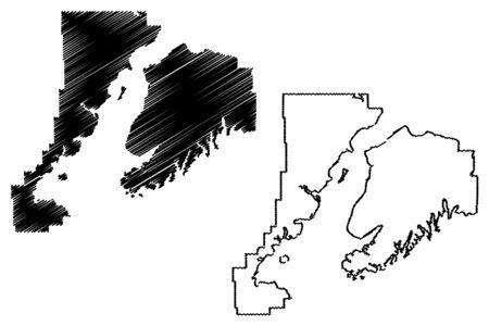 Kenai Peninsula Borough, Alaska (Boroughs and census areas in Alaska, United States of America,USA, U.S., US) map vector illustration, scribble sketch Kenai map