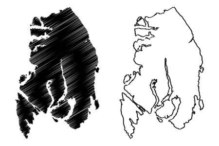 Ketchikan Gateway Borough, Alaska (Boroughs and census areas in Alaska, United States of America,USA, U.S., US) map vector illustration, scribble sketch Ketchikan Gateway map