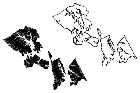 Hoonah–Angoon Census Area, Alaska (Boroughs and census areas in Alaska, United States of America,USA, U.S., US) map vector illustration, scribble sketch Hoonah Angoon map Фото со стока - 133157198