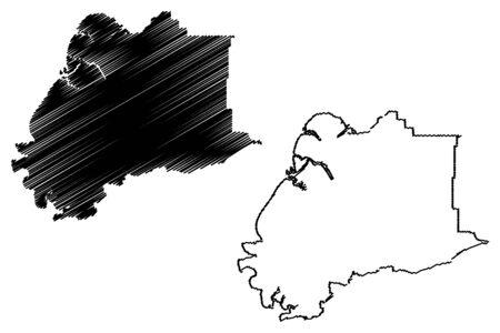 Kusilvak Census Area, Alaska (Boroughs and census areas in Alaska, United States of America,USA, U.S., US) map vector illustration, scribble sketch Wade Hampton map