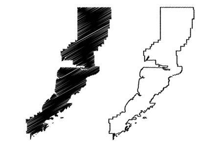 Lake and Peninsula Borough, Alaska (Boroughs and census areas in Alaska, United States of America,USA, U.S., US) map vector illustration, scribble sketch Lake and Peninsula map