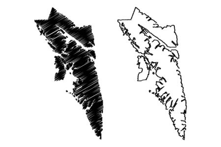 City and Borough of Sitka, Alaska (Boroughs and census areas in Alaska, United States of America,USA, U.S., US) map vector illustration, scribble sketch Novo-Arkhangelsk or New Archangel map Фото со стока - 133249971
