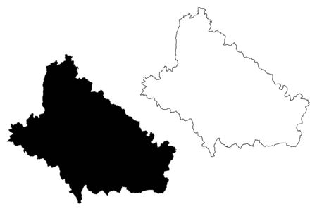 Bjelovar-Bilogora County (Counties of Croatia, Republic of Croatia) map vector illustration, scribble sketch Bjelovar Bilogora map