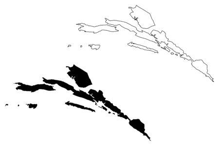 Dubrovnik-Neretva County (Counties of Croatia, Republic of Croatia) map vector illustration, scribble sketch Dubrovnik Neretva (Korcula, Lastovo, Mljet, Sipan, Lopud and Kolocep island) map