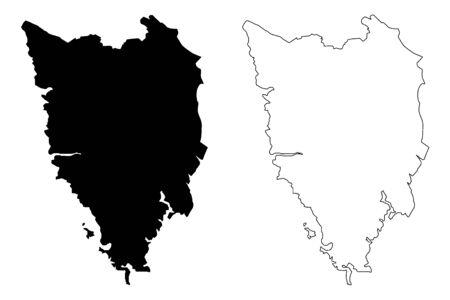 Istria County (Counties of Croatia, Republic of Croatia) map vector illustration, scribble sketch Istria map