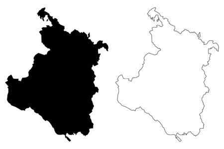 Karlovac County (Counties of Croatia, Republic of Croatia) map vector illustration, scribble sketch Karlovac map Ilustração