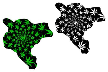 Addis Ababa city (Federal Democratic Republic of Ethiopia, Horn of Africa) map is designed cannabis leaf green and black, Addis Abeba city map made of marijuana (marihuana,THC) foliage