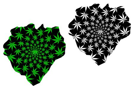Addis Ababa Region (Federal Democratic Republic of Ethiopia, Horn of Africa) map is designed cannabis leaf green and black, Addis Abeba Regional State map made of marijuana (marihuana,THC) foliage 일러스트