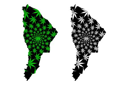 Afar Region (Federal Democratic Republic of Ethiopia, Horn of Africa) map is designed cannabis leaf green and black, Afar Regional State map made of marijuana (marihuana,THC) foliage