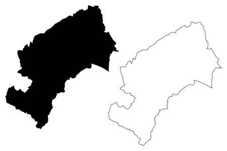 Grad Zagreb (Counties of Croatia, Republic of Croatia) map vector illustration, scribble sketch City of Zagreb map