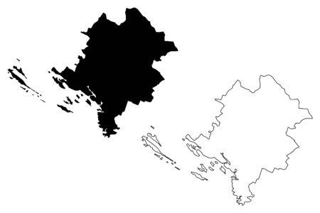 Sibenik-Knin County (Counties of Croatia, Republic of Croatia) map vector illustration, scribble sketch Sibenik Knin (Kornati, Murter, Zirje, Zlarin, Zut island) map