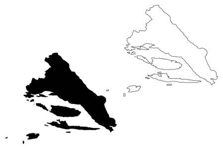 Split-Dalmatia County (Counties of Croatia, Republic of Croatia) map vector illustration, scribble sketch Split Dalmatia (Brac and Hvar island) map