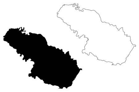 Virovitica-Podravina County (Counties of Croatia, Republic of Croatia) map vector illustration, scribble sketch Virovitica Podravina map