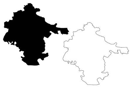 Vukovar-Srijem County (Counties of Croatia, Republic of Croatia) map vector illustration, scribble sketch Vukovar Srijem map Ilustração