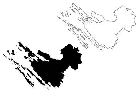 Zadar County (Counties of Croatia, Republic of Croatia) map vector illustration, scribble sketch Zadar (Dugi otok, Ugljan, Pasman and Pag island) map Ilustração