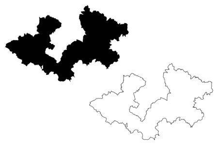 Zagreb County (Counties of Croatia, Republic of Croatia) map vector illustration, scribble sketch Zagreb map