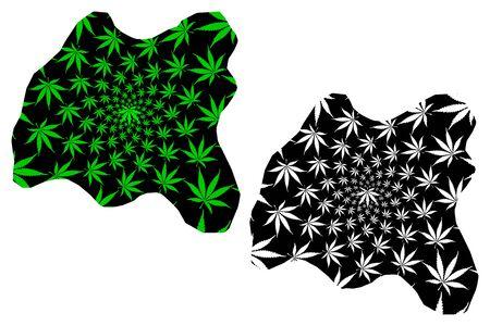 Harari Region (Federal Democratic Republic of Ethiopia) map is designed cannabis leaf green and black, Harari Peoples National Regional State map made of marijuana (marihuana,THC) foliage
